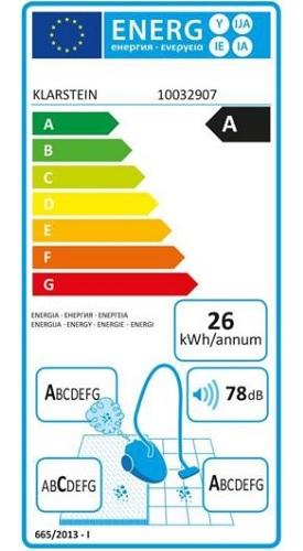 Aspirateur Klarstein - Clean King Ergo - Etiquette Energétique