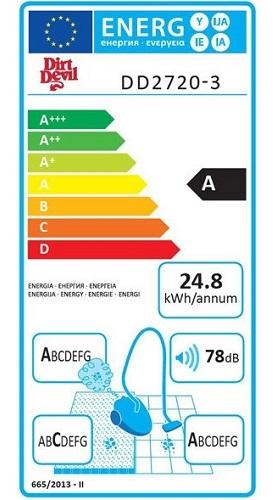 Aspirateur Dirt Devil - Ultima Power Parquet DD2720 - Etiquette Energétique